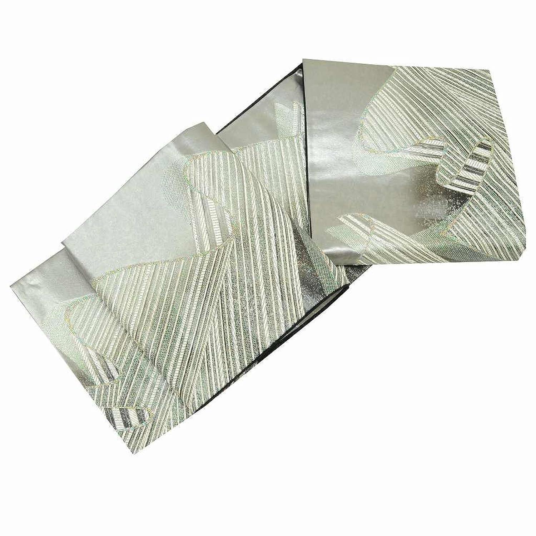 (着物ひととき) 袋帯 リサイクル 中古 正絹 結婚式 振袖 ふくろおび 西陣 幾何学文様 銀系 ll1310a03 B07F22879V  -