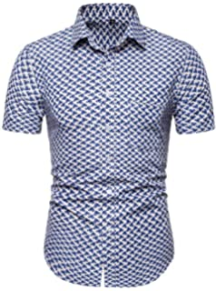Fubotevic Mens Club Button Down Business Dashiki African Print Basic Dress Shirts