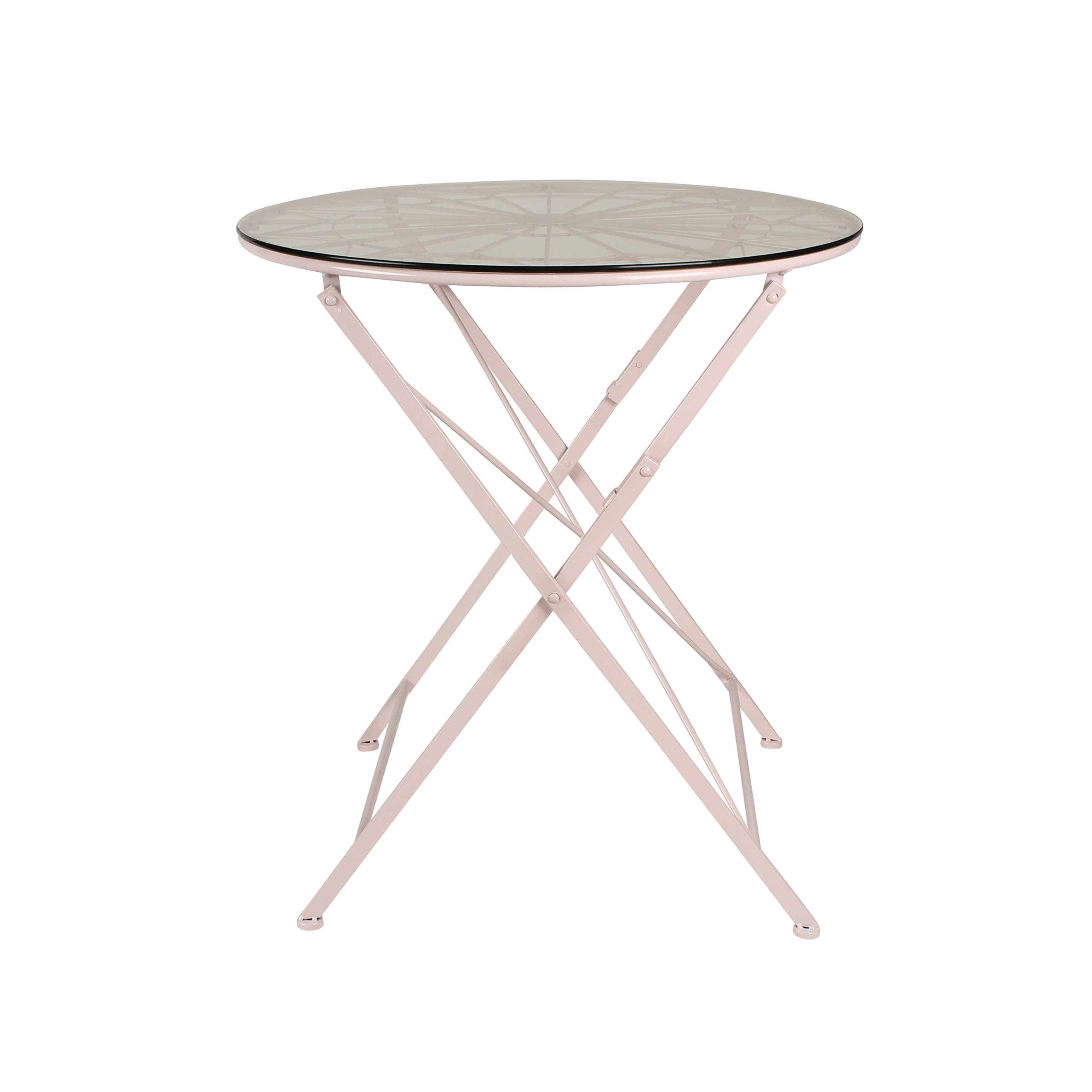 Kate and Laurel Kate & Laurel Thrapston Metal & Glass Round Dining Table, Pink by Kate and Laurel (Image #2)