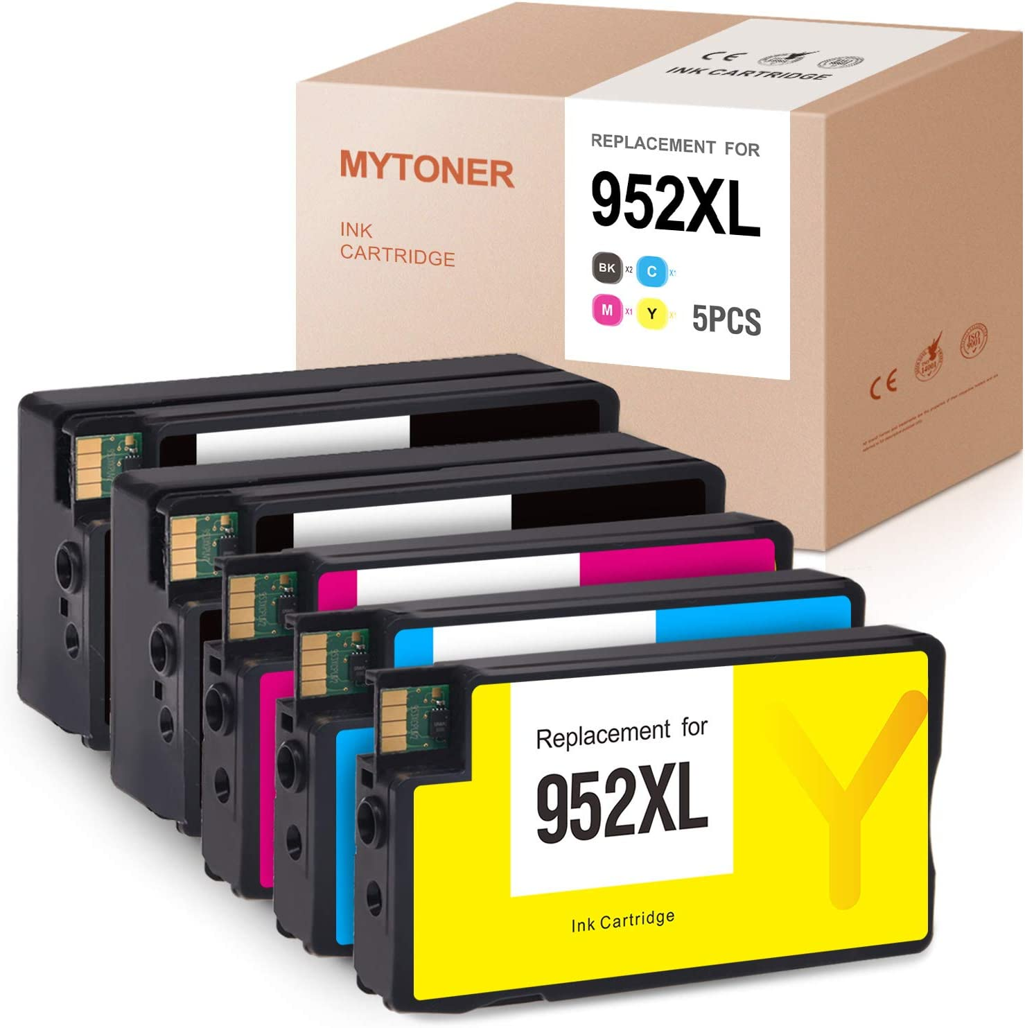 MYTONER Remanufactured Ink Cartridge Replacement for HP 952XL 952 XL Ink Cartridges Combo Pack 2006B/2007A Version(Black Cyan Magenta Yellow, 5-Pack)