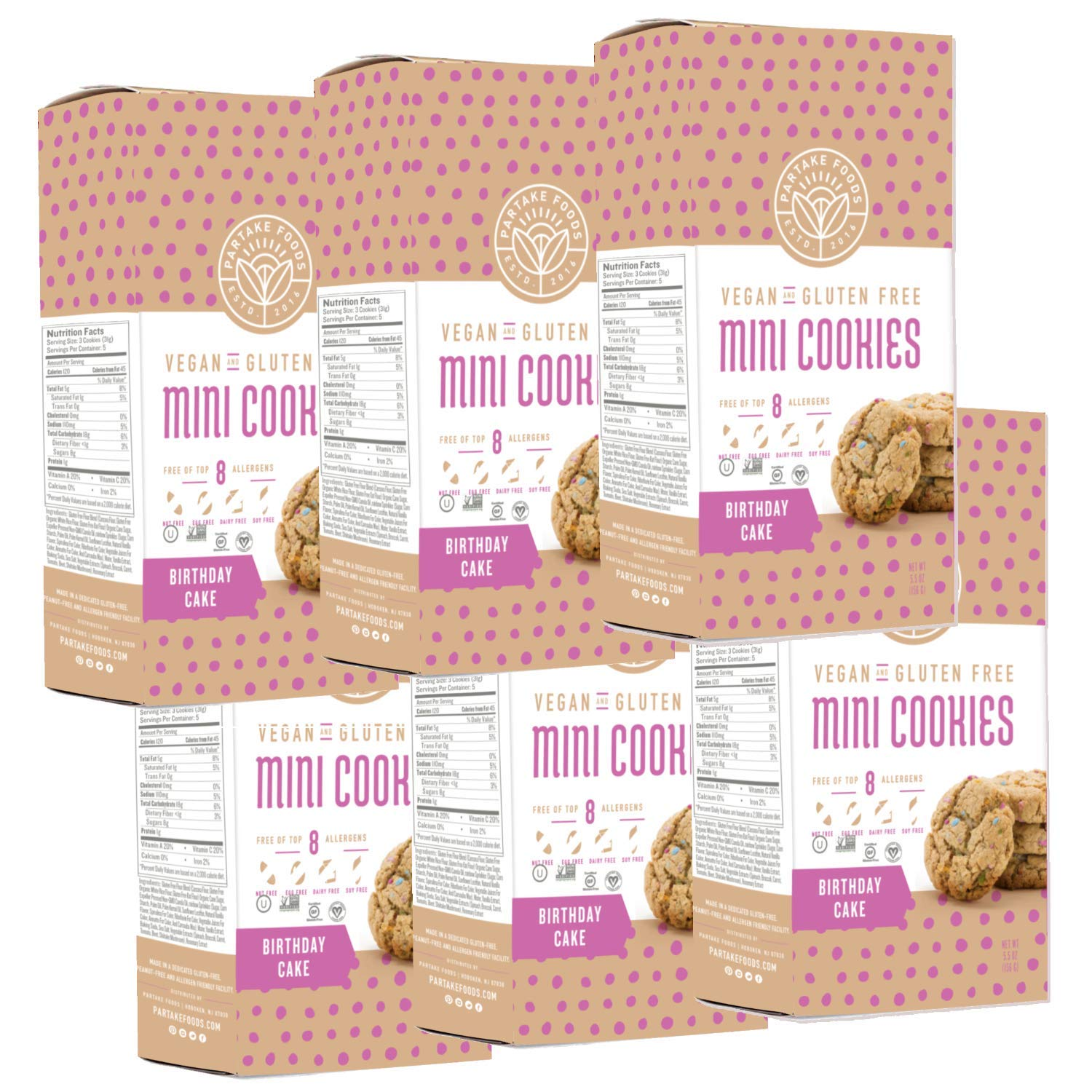 Partake Foods Crunchy Mini Cookies, Birthday Cake, Vegan, Nut Free, Gluten Free Snack, Free of Top 8 Allergens, Lower in Sugar, High in Nutrition, Safe for the School Yard (6 Boxes) by Partake Foods
