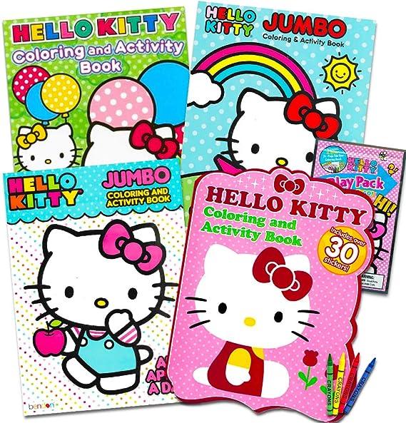 Amazon.com: Hello Kitty Coloring & Activity Book Super Set ~ 5 Hello Kitty Coloring  Books, Crayons, And Over 50 Hello Kitty Stickers (Hello Kitty Party Pack):  Toys & Games