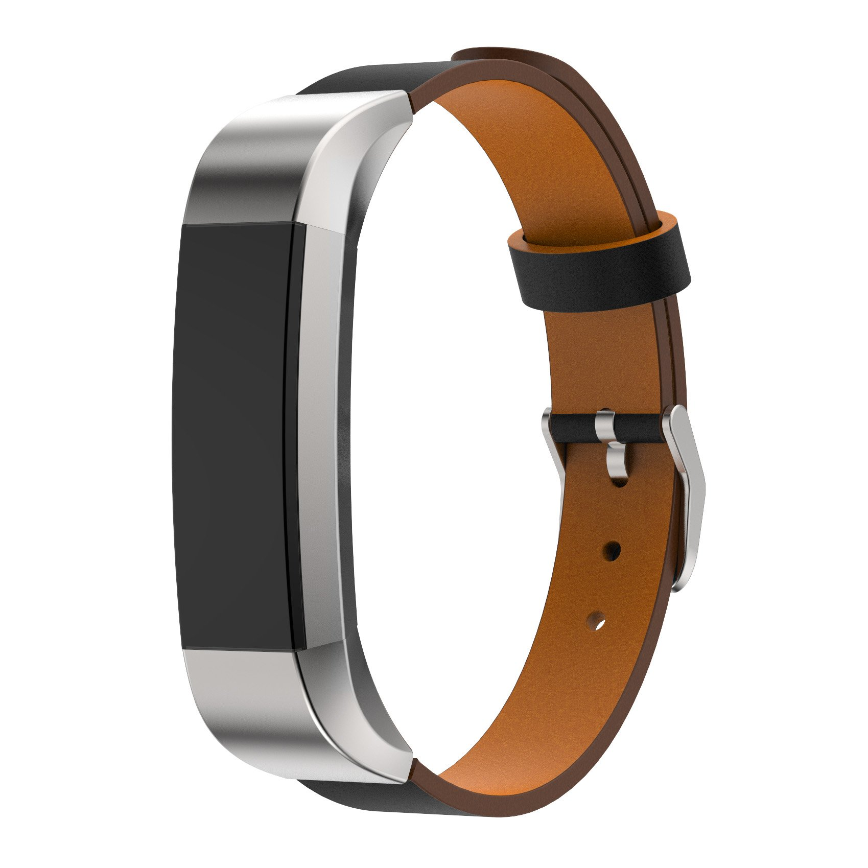 D.B.MOOD Replacement Genuine Leather Band Strap Bracelet for Fitbit Alta Tracker Black