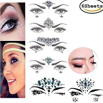Amazon.com   CosCosX 6 Sheets Crystal Festival Face Jewels Gem Party Bindi  Body Jewelry Stickers Nightclub Masquerade Rhinestone Makeup Tattoo  Temporary ... 5fc4eada654b