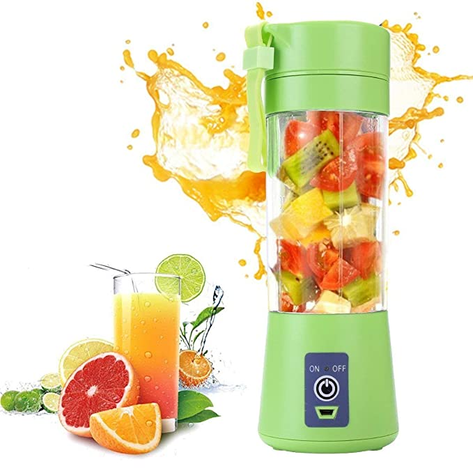 Candora Portable blender 6 Blades Juicer Cup Household Fruit Mixer, With Secure Switch, USB Charger Cable 380ML(Green)