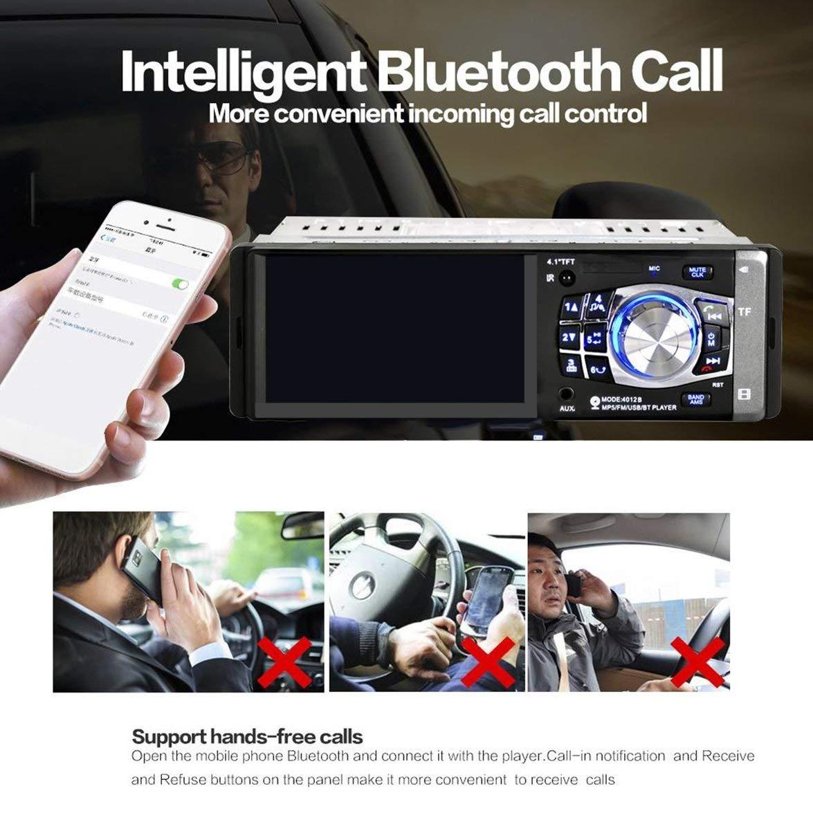 Noir avec cam/éra et Volant Kongqiabona 4012B 4.1 Pouces 1 Din Autoradio Auto Audio St/ér/éo FM Bluetooth 2.0 Lecteur MP5 Soutien Vue arri/ère de la cam/éra Commande au Volant