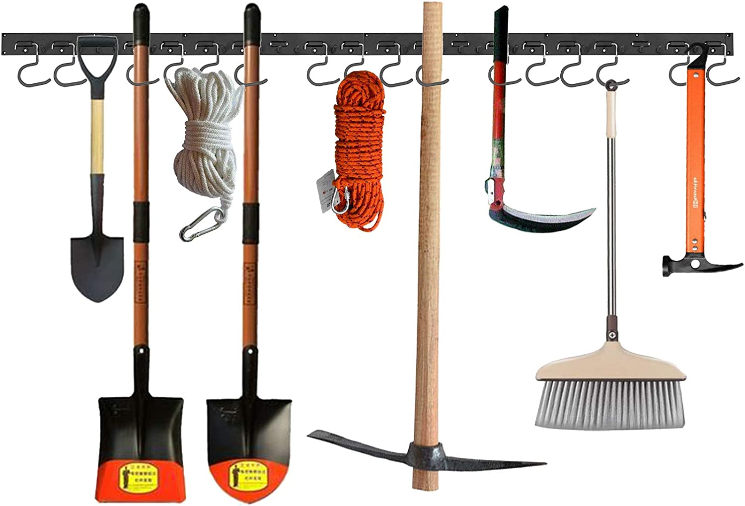 Kamtop Adjustable wall-mount garage rack 64 Inch with 16 hooks and screws Heavy Duty Tool Hanger Adjustable Storage System Wall Organize for Garden