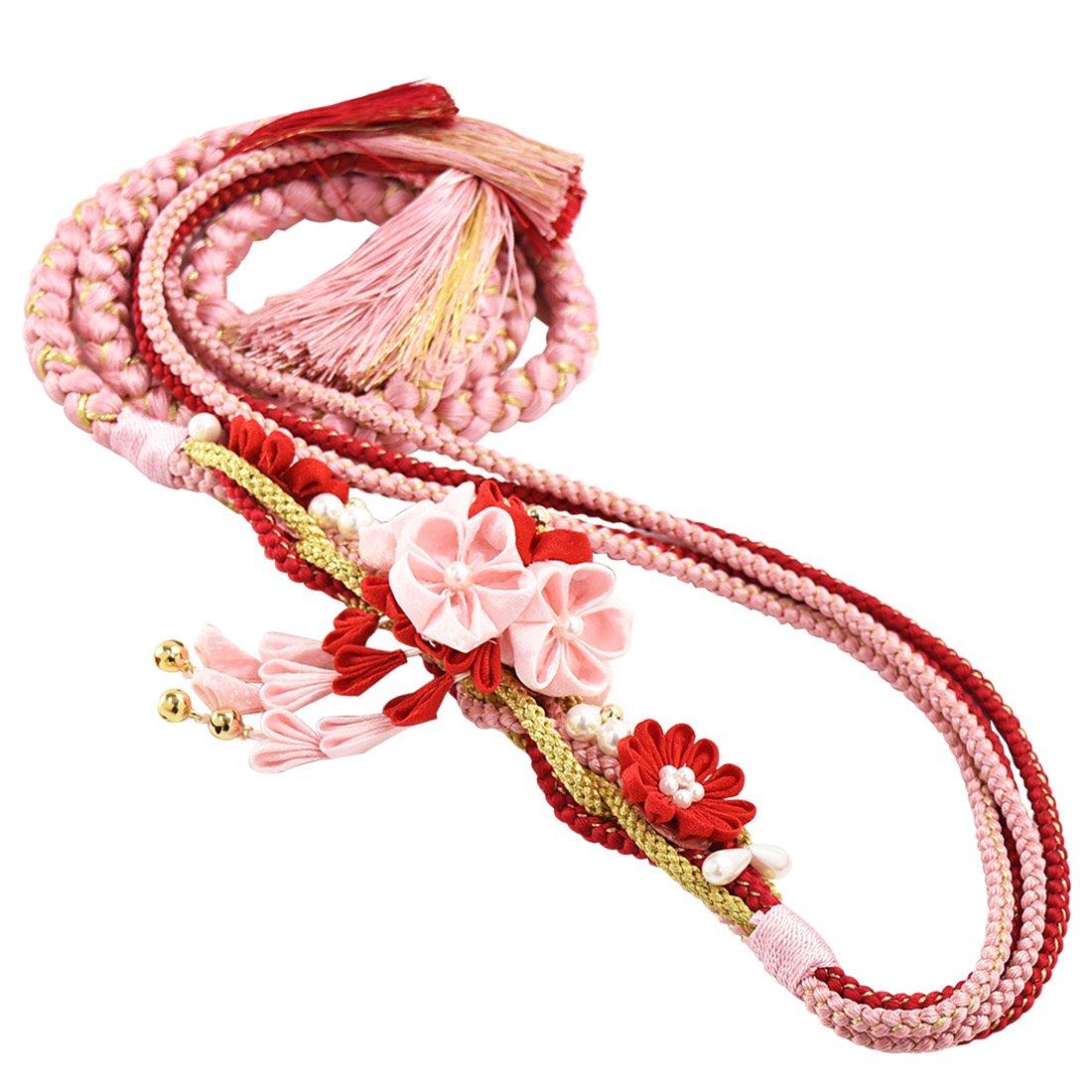 正絹帯締め 振袖用 つまみ細工 花花 女性 B013HST1EC K523 薄ピンク軸 薄ピンク赤 K523 薄ピンク軸 薄ピンク赤