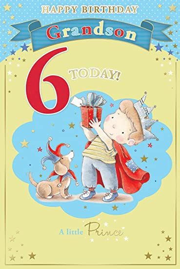 Amazon candy club grandsons 6th birthday card 6 today little candy club grandsons 6th birthday card 6 today little boy in crown holding gift 9quot bookmarktalkfo Images