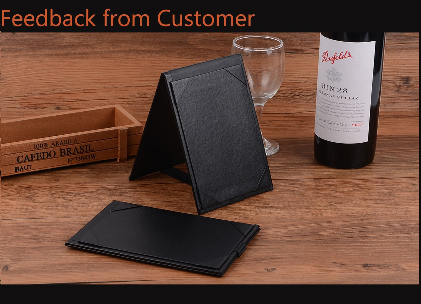 20PCSLeather Table Tent / Menu Holder/ Menu Covers for Specials Drinks or Restaurant Black (6''×4'' inch)
