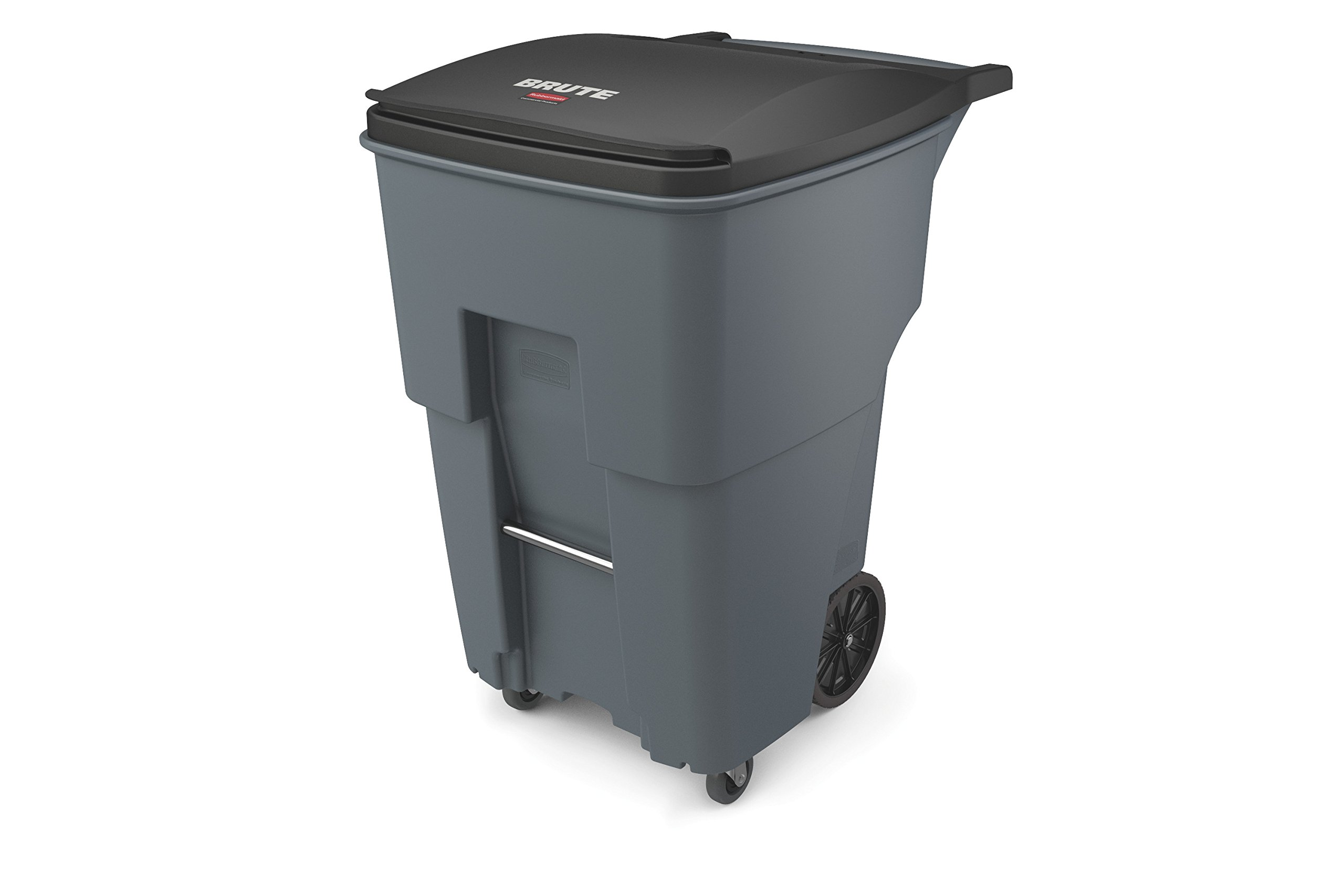 Rubbermaid Commercial 1971994 Brute Rollout Trash Can with Casters, 95 gal/360 L, 46.020'' Height, 28.600'' Width, Gray