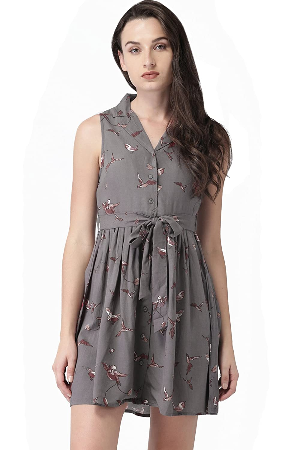 20dresses Womens Bird Printed Fit And Flare Sleeveless Shirt Dress