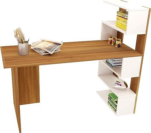 DELUXE Escritorio - Nogal / Blanco - Mesa de Ordenador para ...