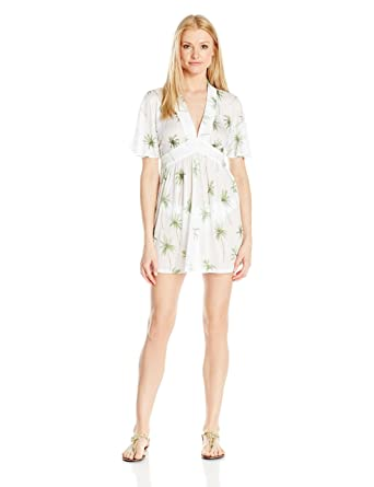 96f382402de4 Amazon.com  MILLY Women s Palm Print Bari Dress Cover Up  Clothing