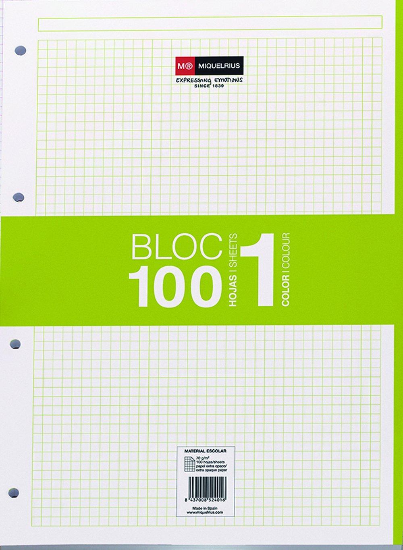 Miquelrius - Recambio hojas A4 100 hojas, cuadrícula 5 mm, 4 taladros, color verde Miquel Rius 7424