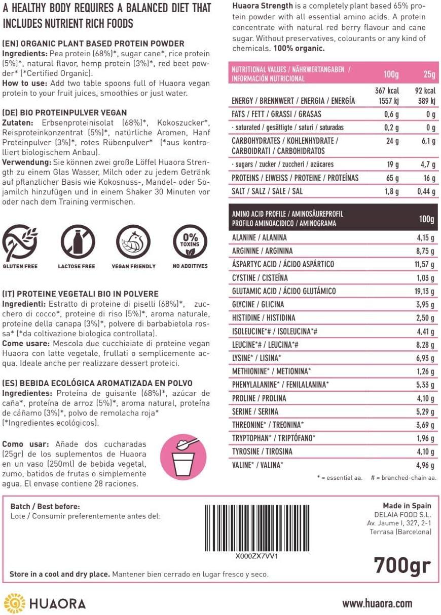 Mix de Proteínas veganas 65% con sabor frutos rojos, 700gr | 100% Natural y Orgánico - Sin Gluten, Sin Lactosa, Sin Aditivos Artificiales