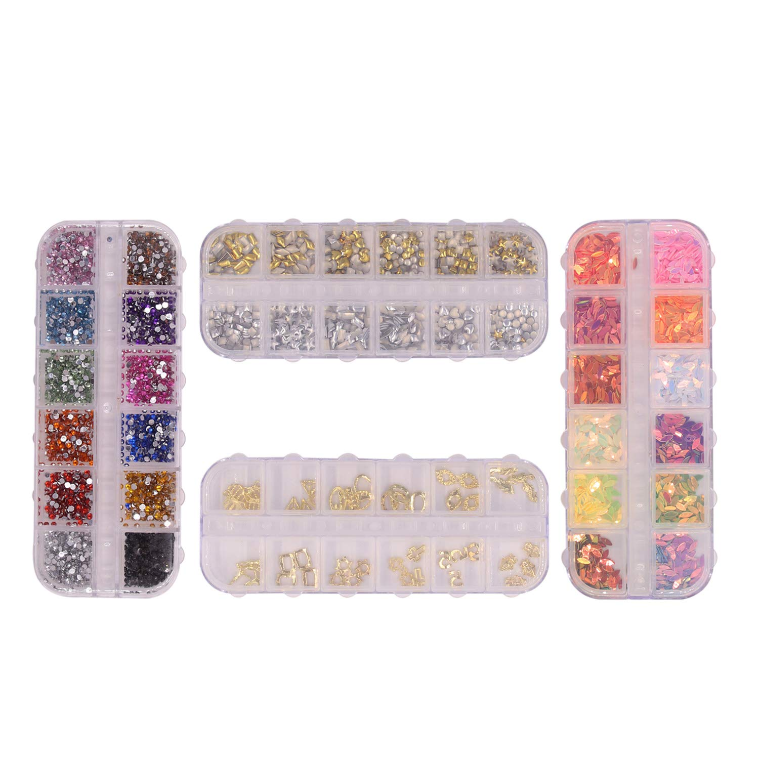 4 Boxes of Nail Art Rhinestones Multicolor Multi-designed Nail Gems Nail Studs Horse Eye Rivets Rhinestones for Nail Art Decorations Supplies by Polly Online