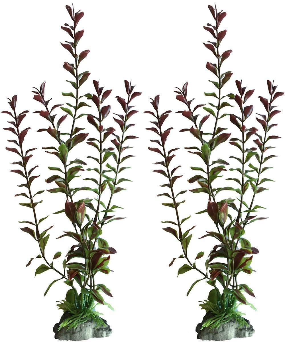 2 Pack - 10 Inch Red Ludwigia Artificial Plants For Tropical Fish Aquariums & Terrariums. Great For Angel Fish & Tetras! by Plant Masters