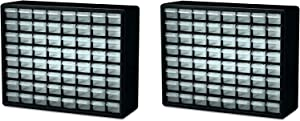 Akro-Mils 10164 64 Drawer Plastic Parts Storage Hardware and Craft Cabinet, 20-Inch by 16-Inch by 6-1/2-Inch, Black (Pack of 2)