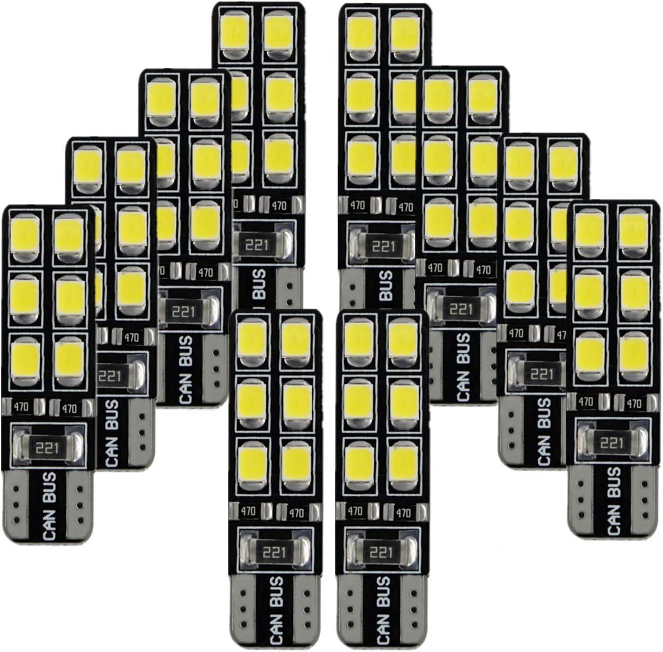 FEZZ Luces Interior Led Coche Canbus Bombillas Posicion Led Blancas Luz T10 W5W Laterales Iluminación, 10 Pack