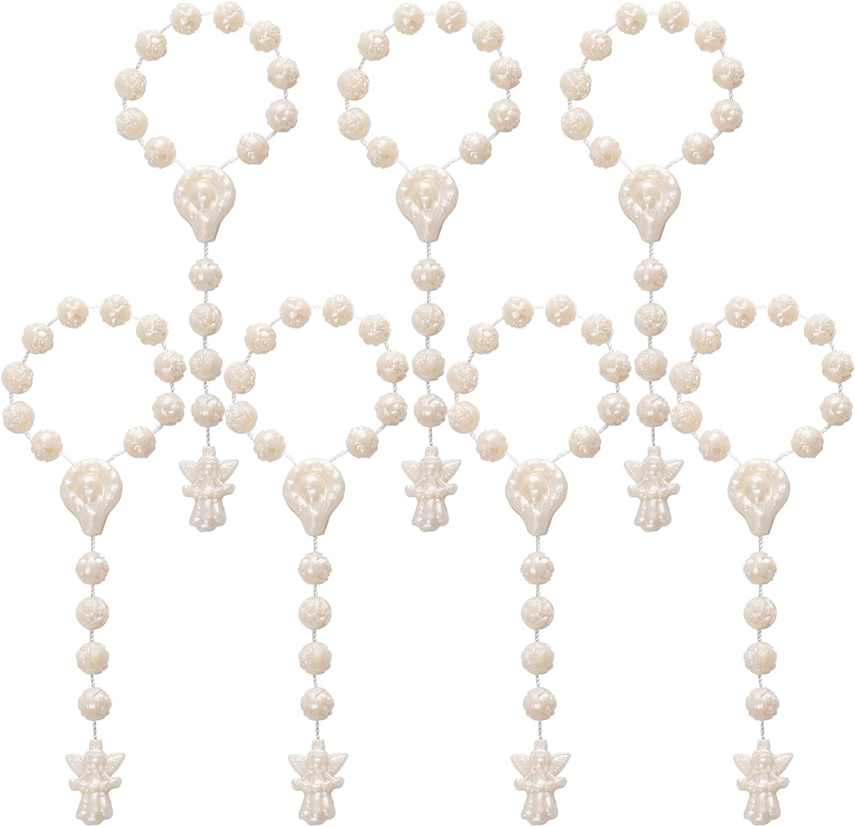 JuXinDa 12 Pc Rose Plastic Rosary Baptism Favors Mini Rosary//Plastic Rosary Recuerditos De Bautismo//baptismal Favor//Finger Rosaries by San Joaquin Creations Ivory
