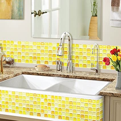 Amazon.com: Beaustile Yellow Blossom Mosaic 3D Wall Stickers 2 ...