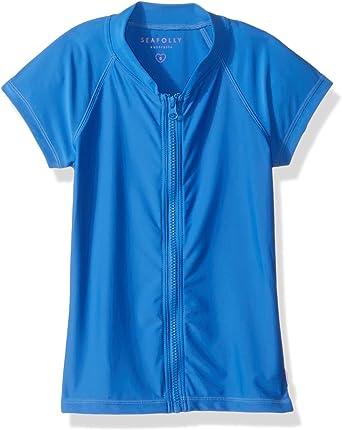Summer Essential Galaxy Blue Seafolly Girls Big Long Sleeve Zip Front Rashguard 10