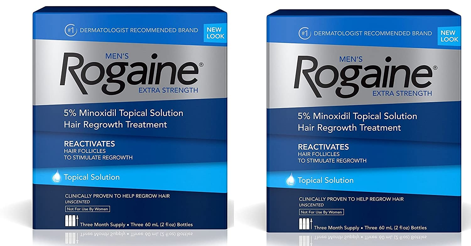 Rogaine Mens Hair Loss and Hair Regrowth Treatment, Minoxidil Topical Solution, Three Month Supply (pack of three 2-ounce bottles) WcKUJp, 2 Pack