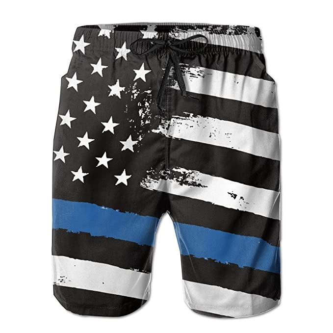 Amazon.com: kkwong de los hombres delgada línea azul Bandera ...