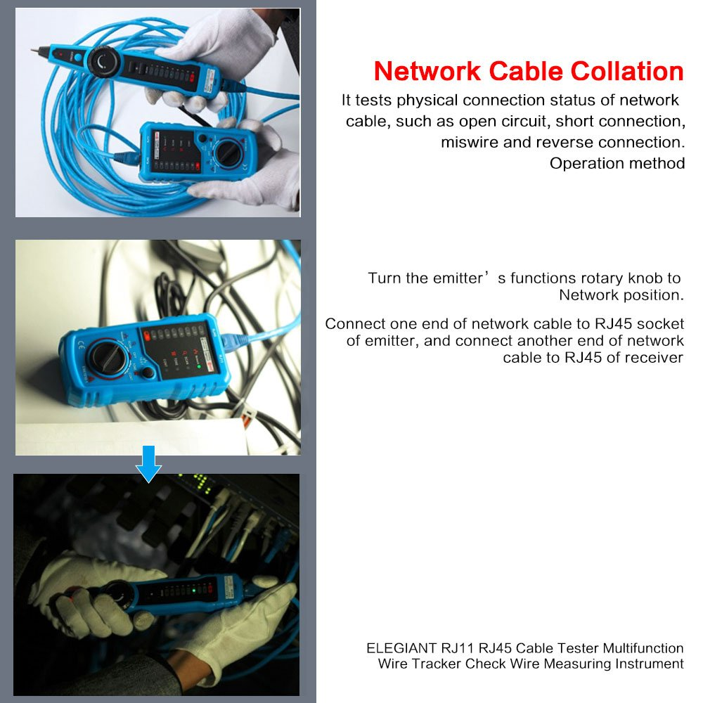 Lingsfire Rj11 Rj45 Cable Tester Line Finder Telephone Phone Wiring Wire Tracker Check Ethernet Lan Cat5 Cat6 Blue