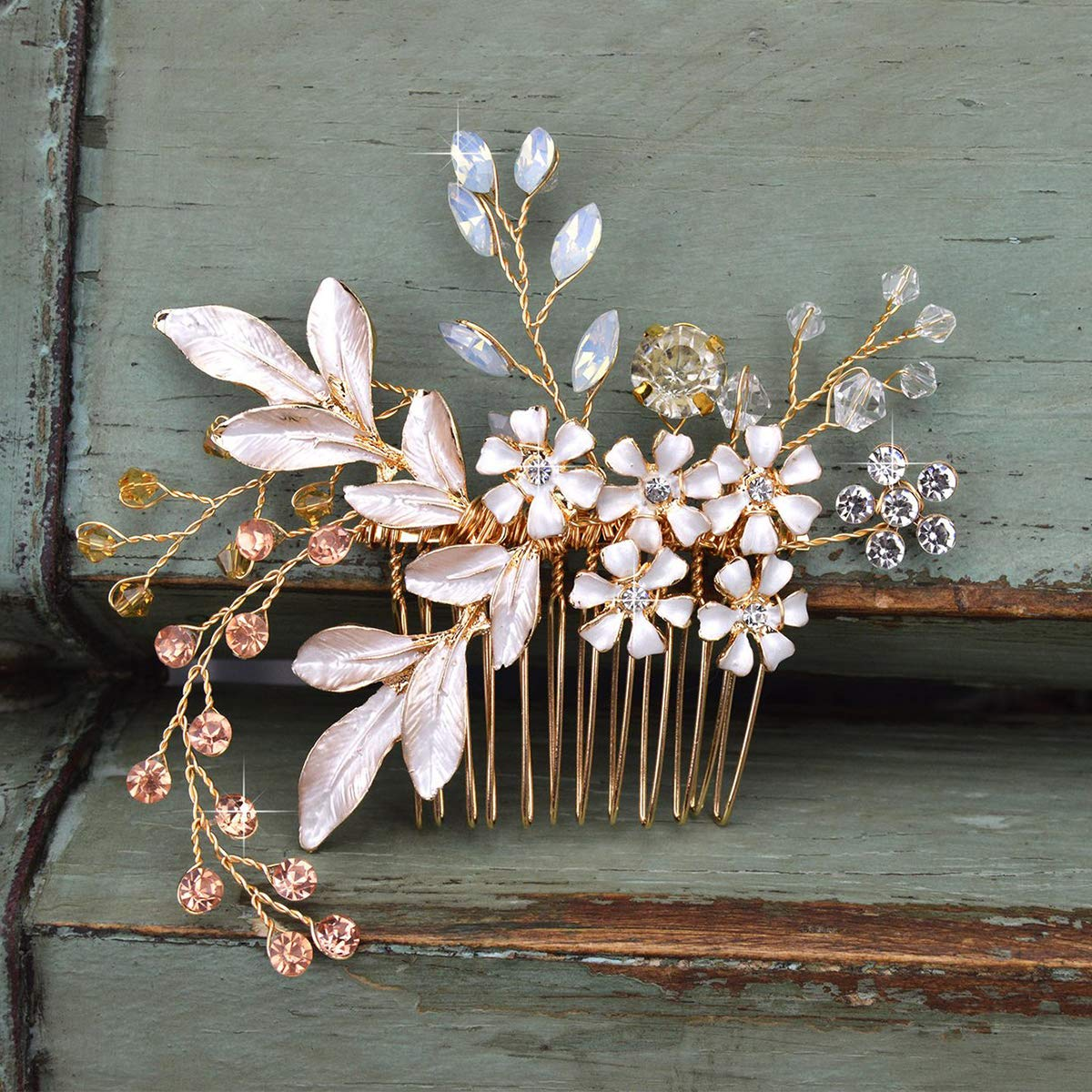SWEETV Gold Bridal Hair Comb Rhinestone Wedding Clip Flower Hair Accessories Head Pieces for Women by SWEETV
