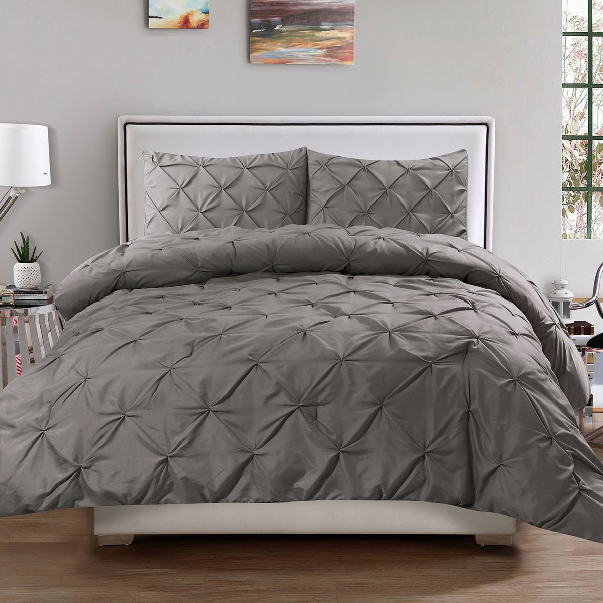Sweet Home Collection 3 Piece Luxury Pinch Pleat Pintuck Fashion Duvet Set, King, Gray