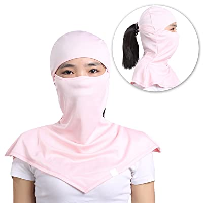 AIWOLU Balaclava for Women-Moisture Wicking Breathable Women's Full Face Mask Longer Elastic Neck Cover Hood For Cycling & Leisure Sports
