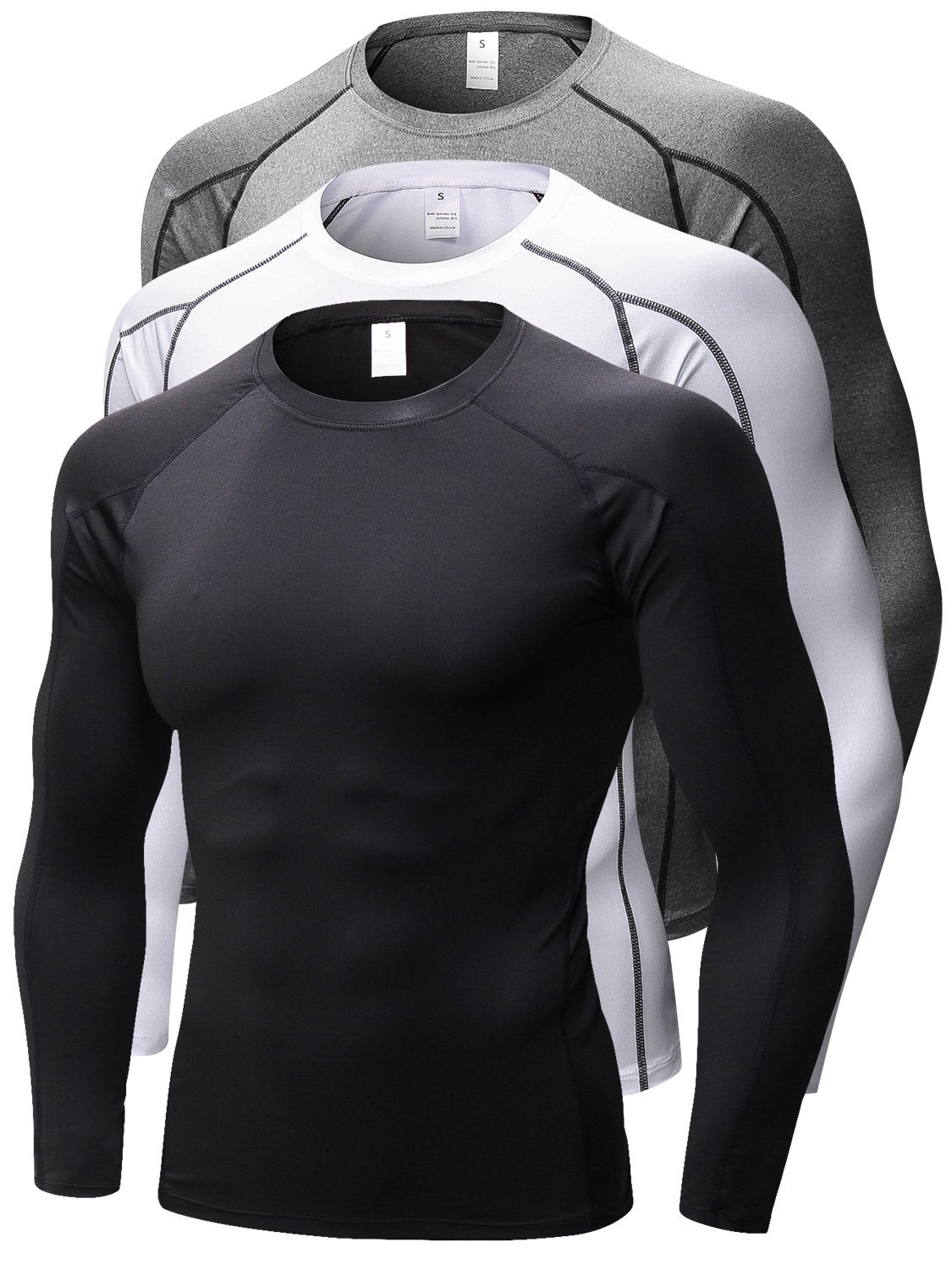 Queerier Men's Compression Shirts Baselayer Underlayer Top Long Sleeve T-Shirt 3 Pack