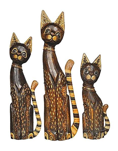 Figura decorativa de gato Mauz en el conjunto de 3, funda de piel con madera