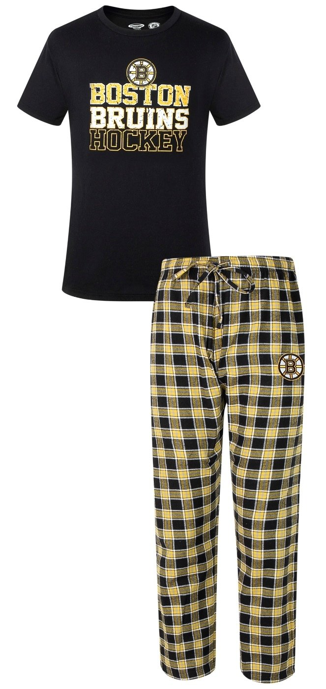 Boston Bruins NHL Medalist Men's T-shirt & Flannel Pajama Pants Sleep Set Concept Sports
