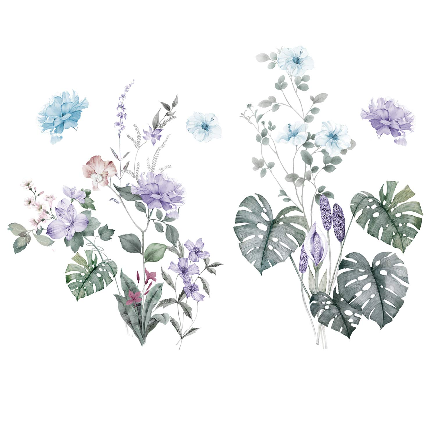 3D Gaint Green Leaf and Multicolor Flower Wall Decals Remvable Nursey Floral Purple Flowers Wall Stickers Decor Peel and Stick Art for Girls Bedroom Living Room Bathroom Wall Decoration (Colorful)