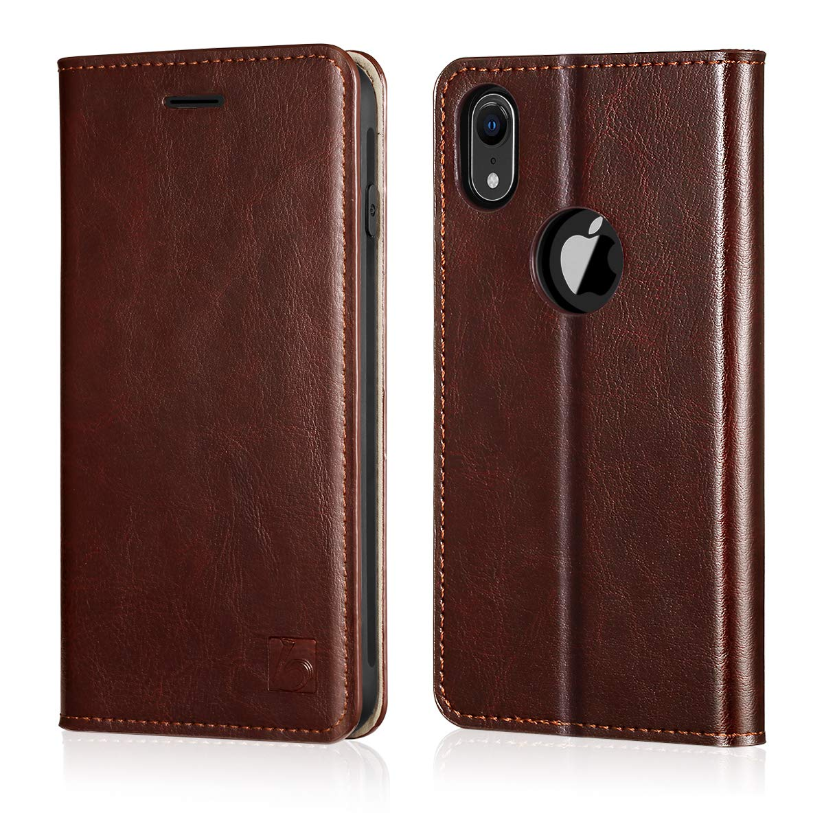 Belemay iPhone XR Wallet Case, iPhone XR Case, Genuine Cowhide Leather Flip Case Slim Folio Cover [Durable Soft TPU Inner Case] Card Holder Slots, Kickstand, Cash Pockets Compatible iPhone XR, Brown