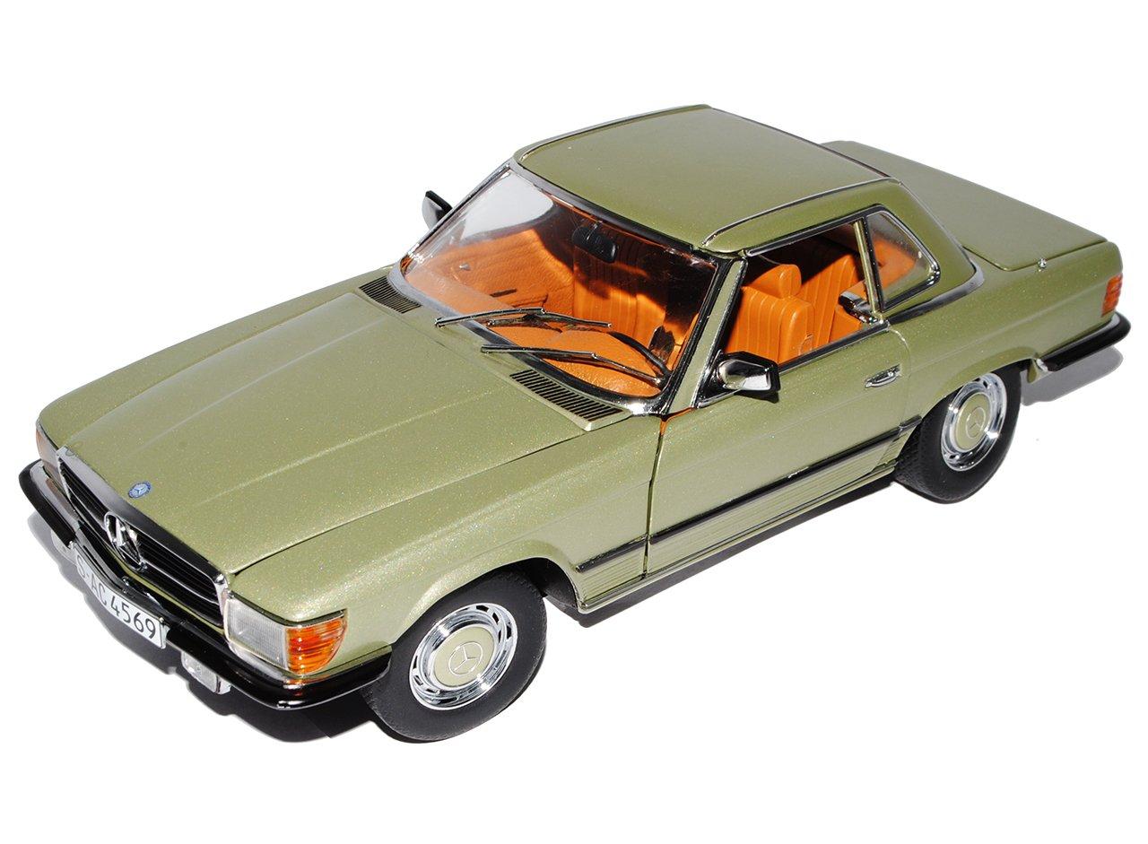 Sun Star Mercedes-Benz 350SL R107 Cabrio Grün Silber mit Hard Top Dach 1971-1989 1/18 Modell Auto