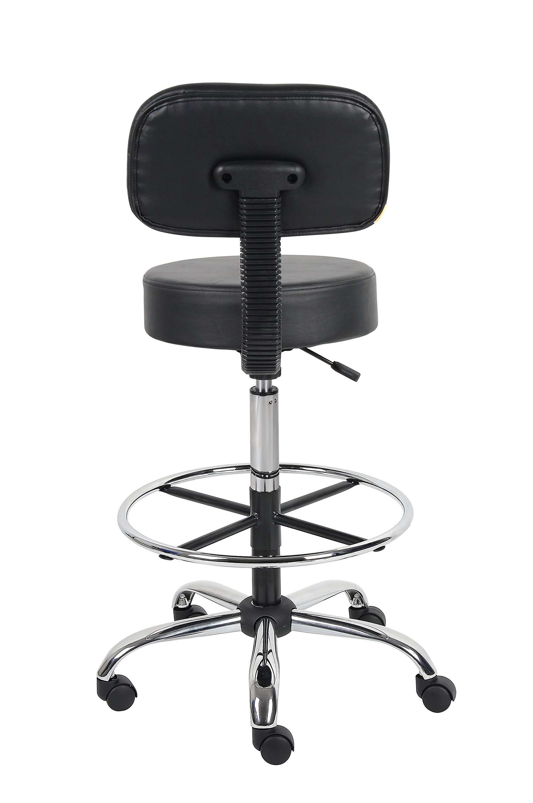 Boss Office Products B16245-BK Be Well Medical Spa Drafting Stool with Back,  Black by Boss Office Products (Image #2)
