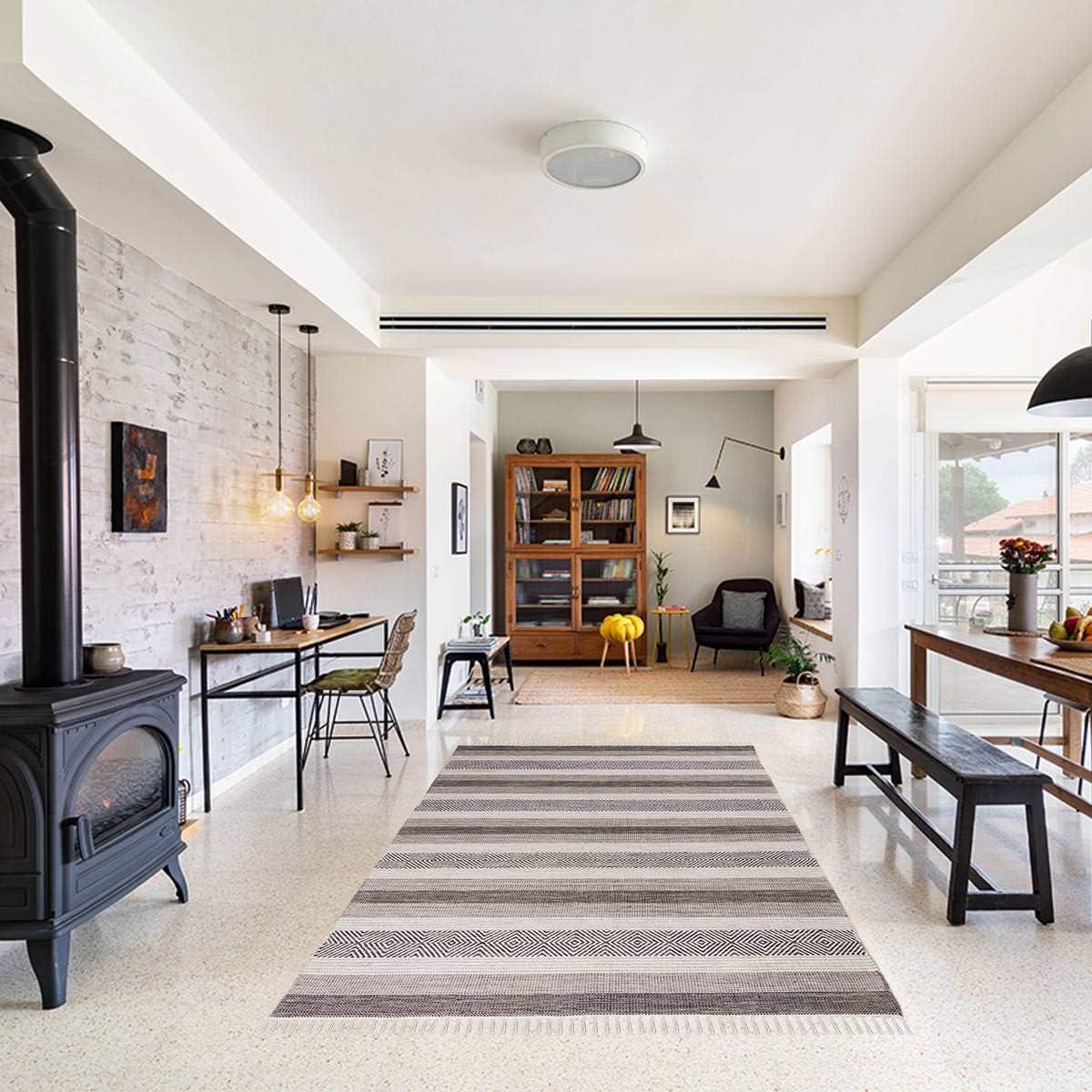 We Rugs Beautiful Area Rugs for Living Room Decor, Modern Geometric Handmade Area Rug, Grey 9 x 12