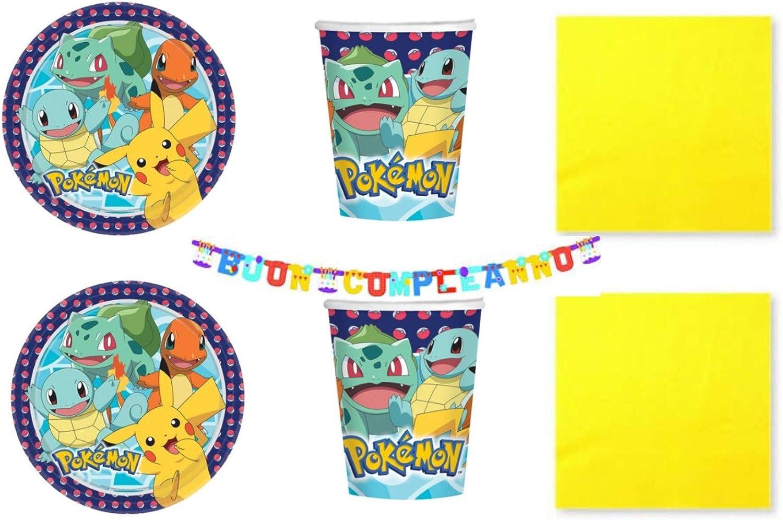 Party Store web by casa dolce casa Pokemon Pikachu - Juego de Mesa de Pokémon - Kit n.° 10 CDC (40 Platos, 40 Vasos, 50 servilletas Amarillas, 1 Guirnalda): Amazon.es: Juguetes y juegos