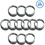 Silver Rust Resistant Screw Stainless Steel Rings / Bands for Mason, Ball, Canning Jars (12 Pack, Wide Mouth)