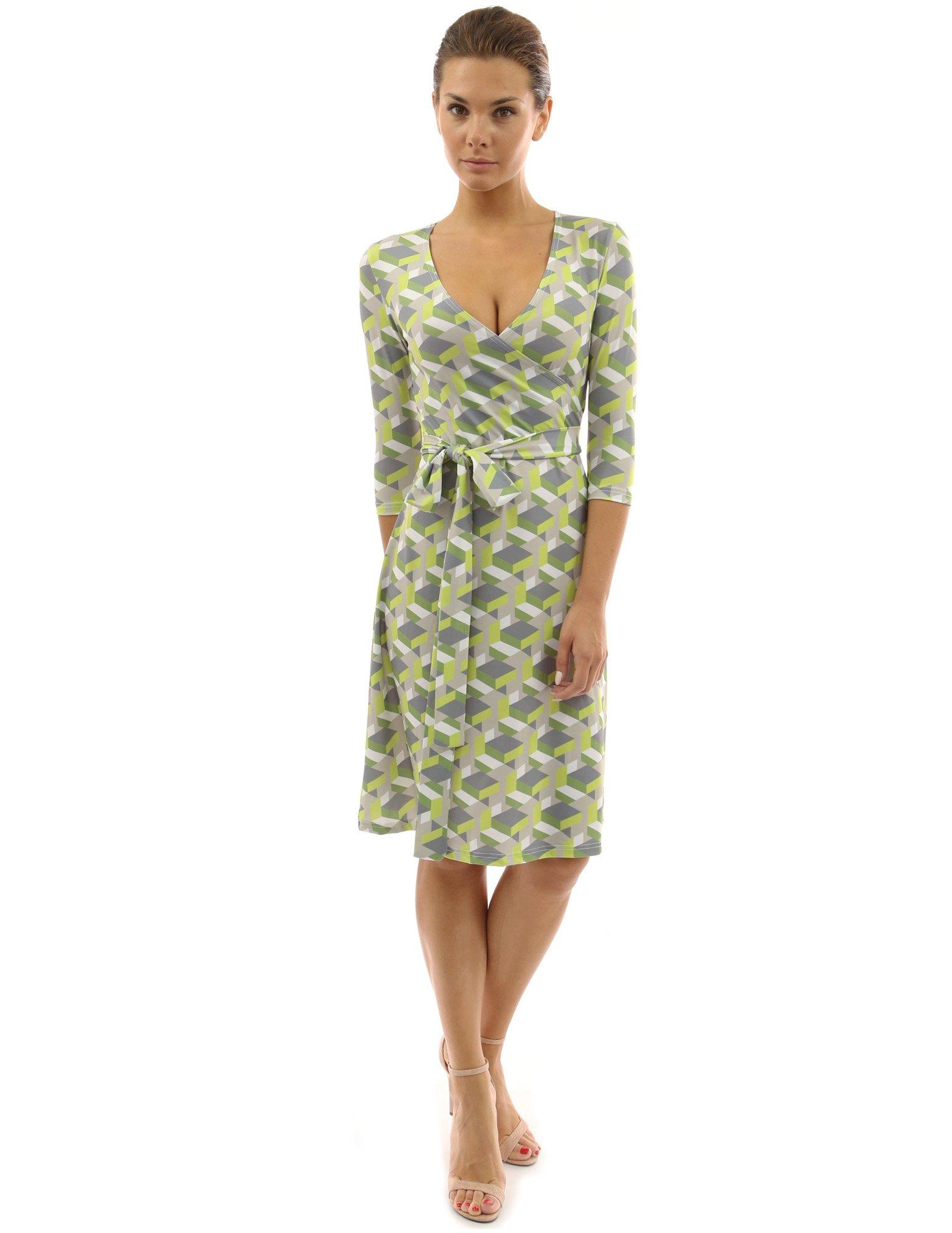 PattyBoutik Women Faux Wrap A Line Dress (Green and Gray Medium)
