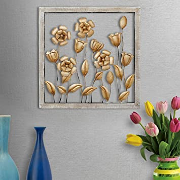 Buy Global Glory India Metal Lotus Leaf Wall Art Decor With Wooden Frame Online At Low Prices In India Amazon In