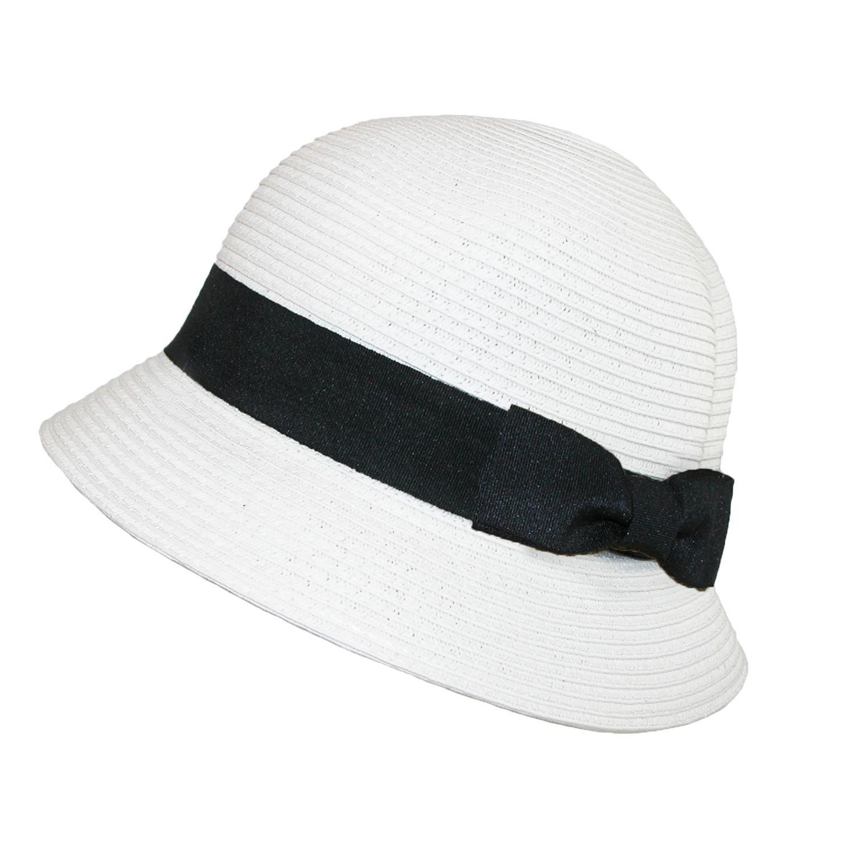 Jeanne Simmons Women's Paper Braided Summer Sun Cloche Hat, White