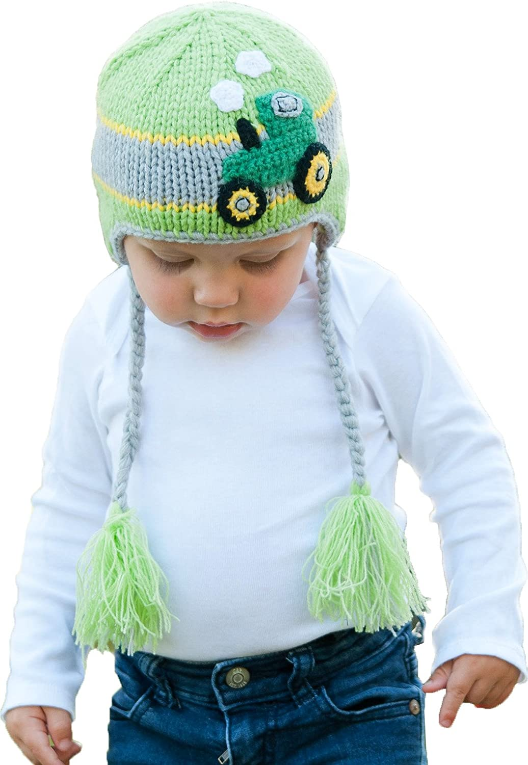 6d66e9e9070 Amazon.com  Huggalugs Baby and Toddler Childrens Farm Tractor Beanie Hat   Clothing