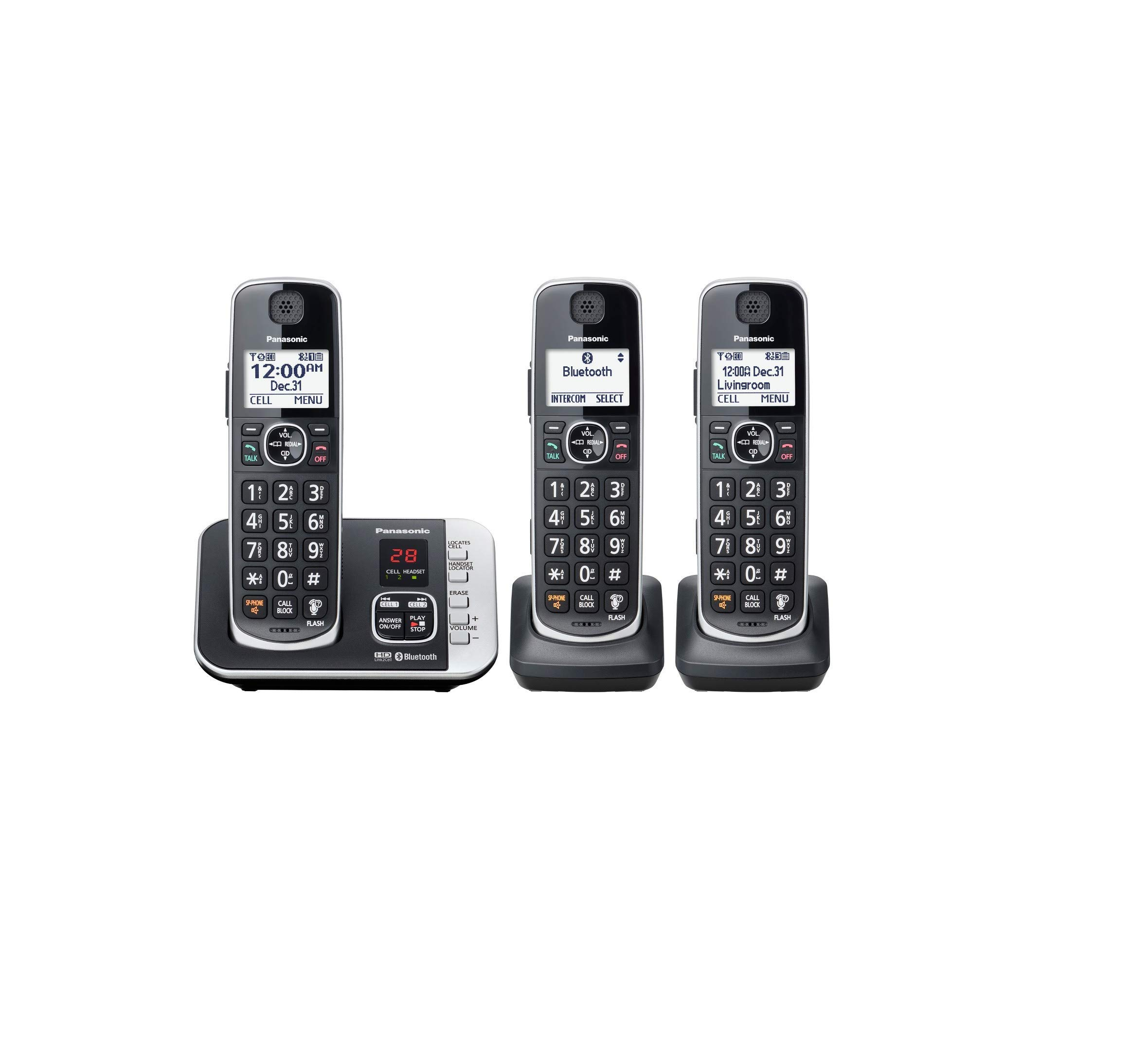 Panasonic KX-TGE633M DECT 6.0 Digital Technology Expandable 3 Handset Cordless Phone with Answering Machine (Renewed) by Panasonic