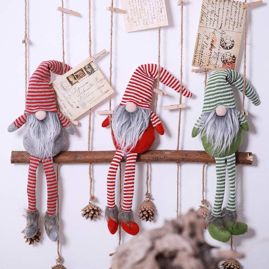 Holiday Gnome Handmade Decoration,Christmas Elf Decoration Ornaments Striped Hat Hanging Leg No Face Doll
