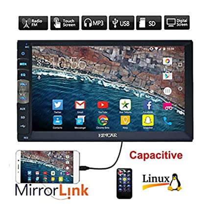 EinCar 7 inch Double Din Car Stereo MP5 Player with Capacitive Touch Screen Video Audio 1080P